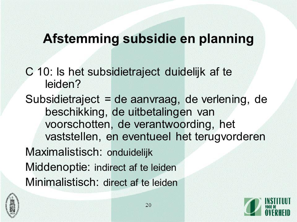 20 Afstemming subsidie en planning C 10: Is het subsidietraject duidelijk af te leiden.