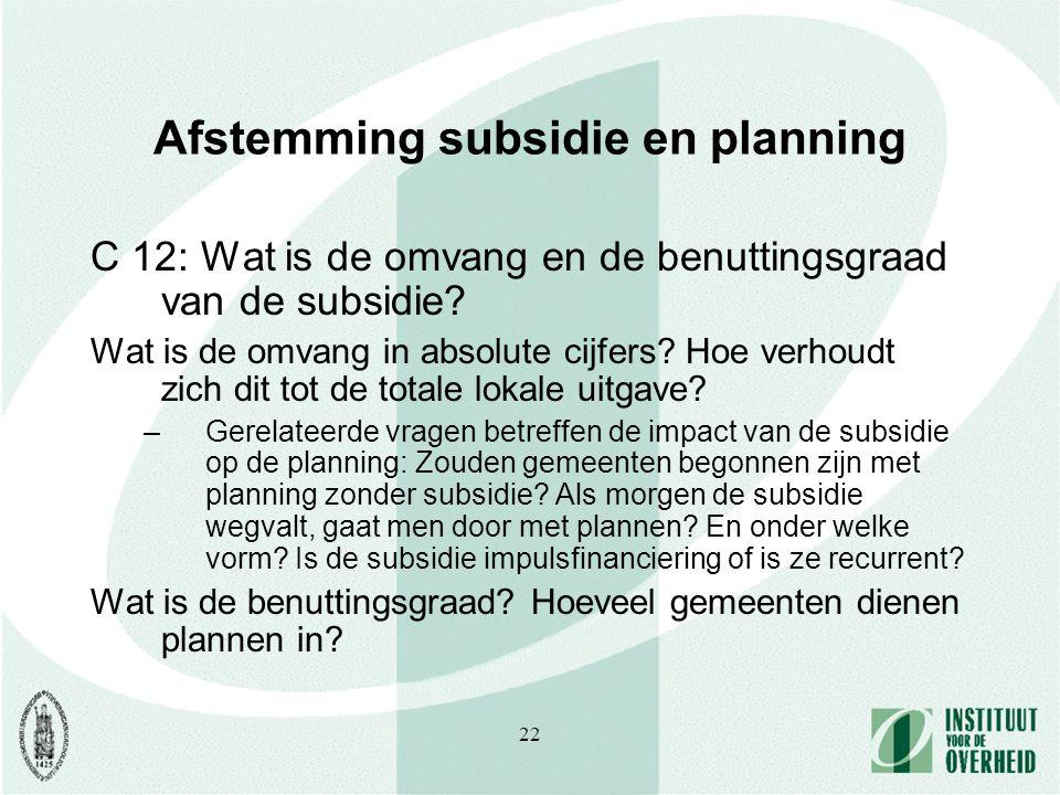 22 Afstemming subsidie en planning C 12: Wat is de omvang en de benuttingsgraad van de subsidie.