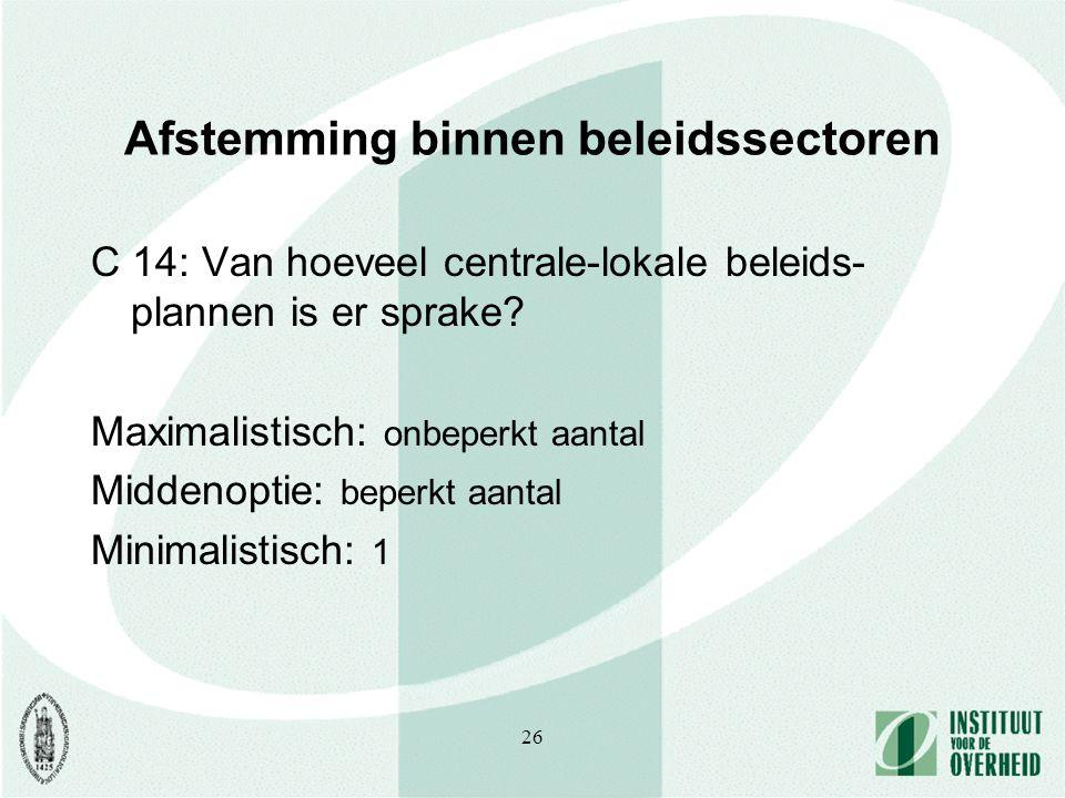 26 Afstemming binnen beleidssectoren C 14: Van hoeveel centrale-lokale beleids- plannen is er sprake.