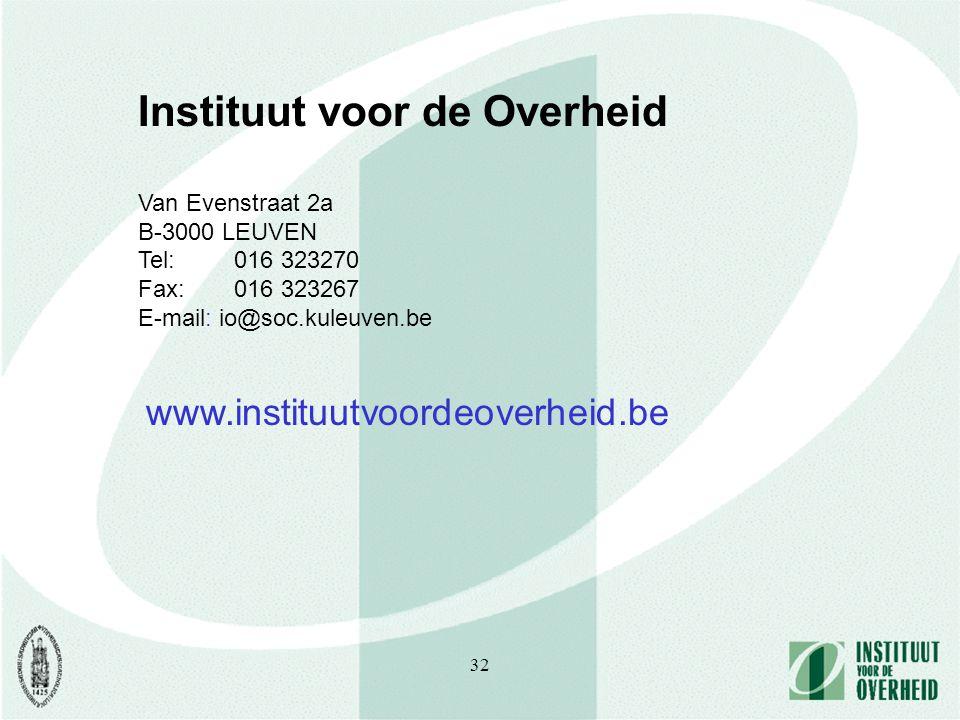 32 Instituut voor de Overheid Van Evenstraat 2a B-3000 LEUVEN Tel: 016 323270 Fax: 016 323267 E-mail: io@soc.kuleuven.be www.instituutvoordeoverheid.be