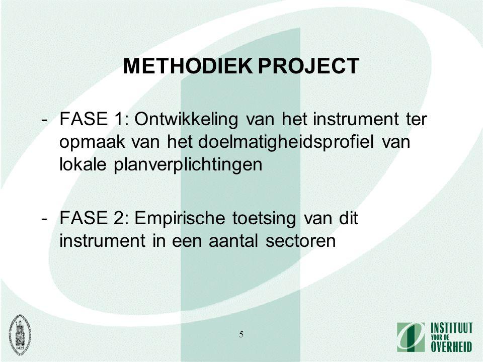5 METHODIEK PROJECT -FASE 1: Ontwikkeling van het instrument ter opmaak van het doelmatigheidsprofiel van lokale planverplichtingen -FASE 2: Empirische toetsing van dit instrument in een aantal sectoren