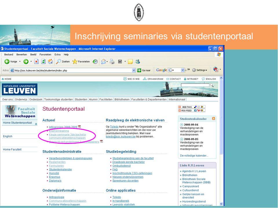 Inschrijving seminaries via studentenportaal
