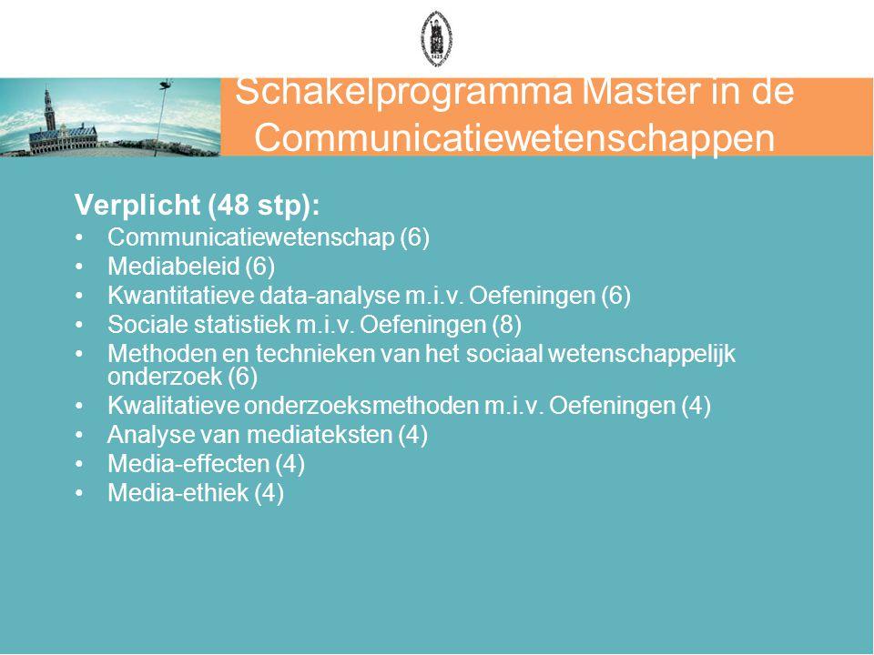 Schakelprogramma Master in de Communicatiewetenschappen Verplicht (48 stp): Communicatiewetenschap (6) Mediabeleid (6) Kwantitatieve data-analyse m.i.v.