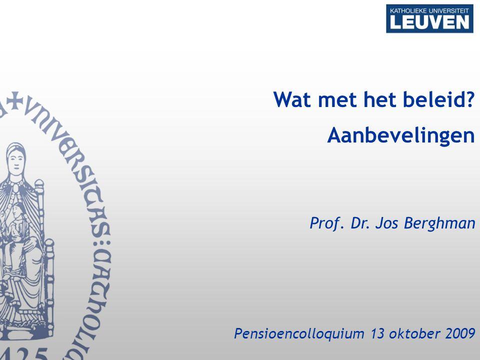Wat met het beleid? Aanbevelingen Prof. Dr. Jos Berghman Pensioencolloquium 13 oktober 2009