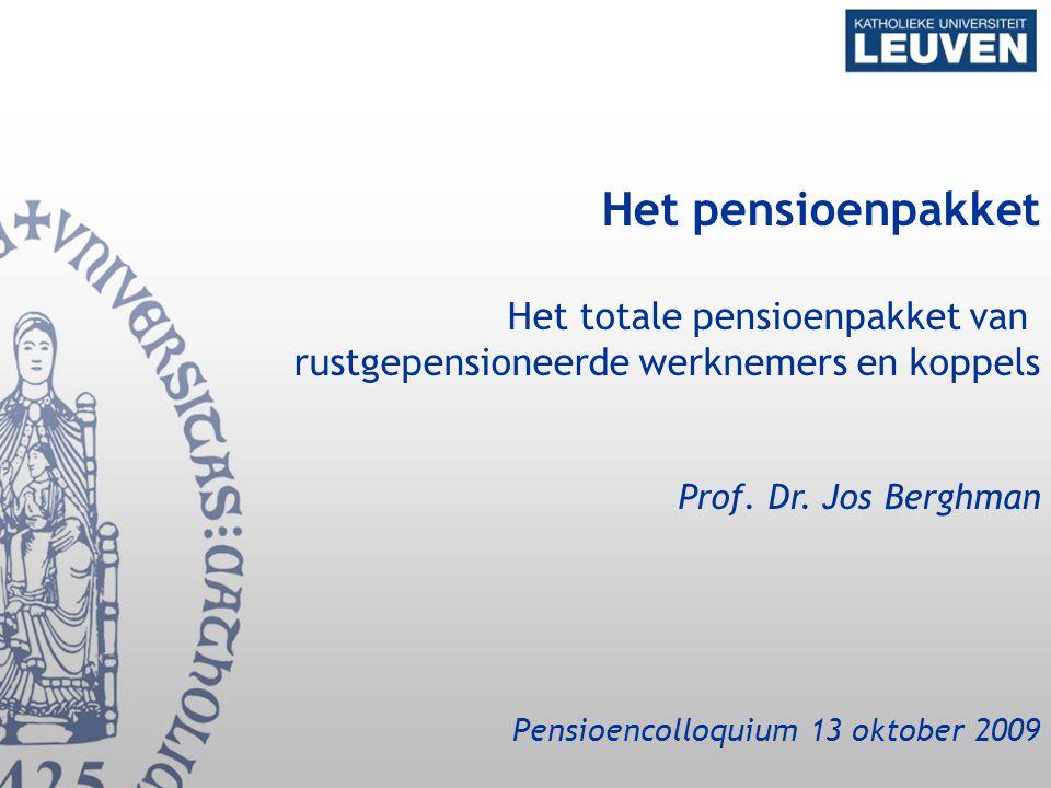 Het pensioenpakket Het totale pensioenpakket van rustgepensioneerde werknemers en koppels Prof.