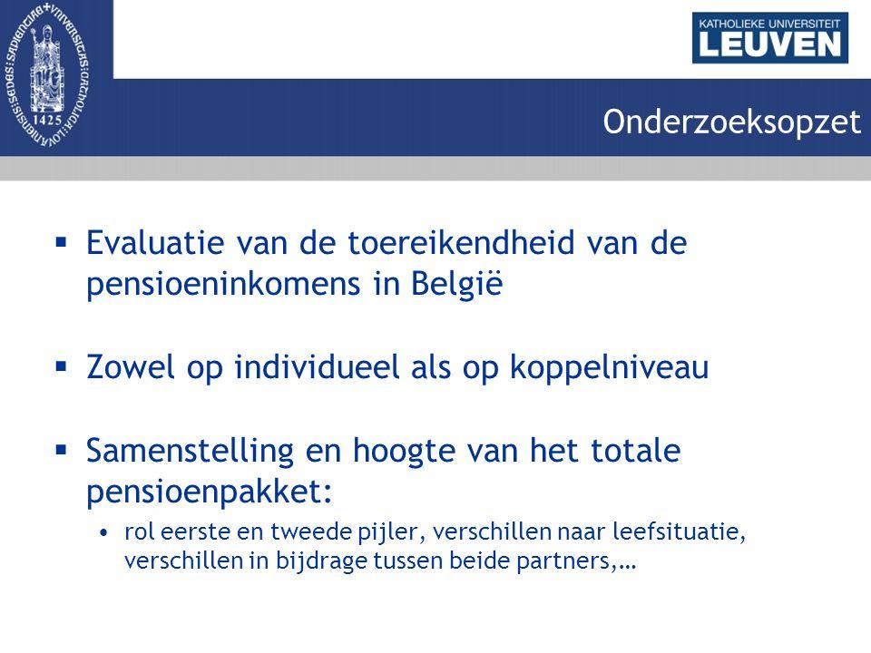 Onderzoeksopzet  Evaluatie van de toereikendheid van de pensioeninkomens in België  Zowel op individueel als op koppelniveau  Samenstelling en hoogte van het totale pensioenpakket: rol eerste en tweede pijler, verschillen naar leefsituatie, verschillen in bijdrage tussen beide partners,…