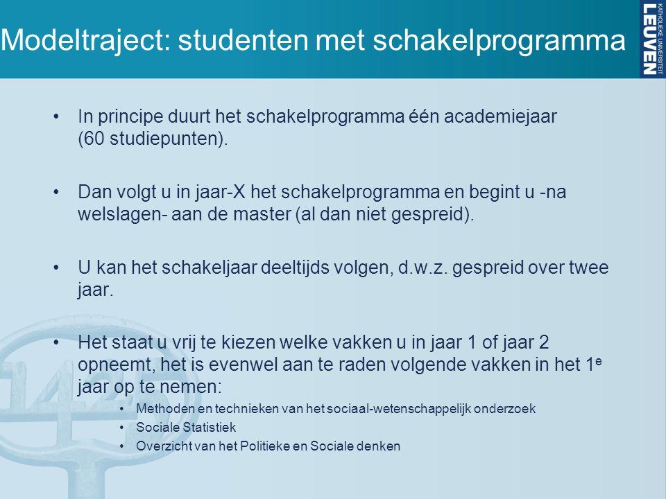 Modeltraject: studenten met schakelprogramma In principe duurt het schakelprogramma één academiejaar (60 studiepunten).
