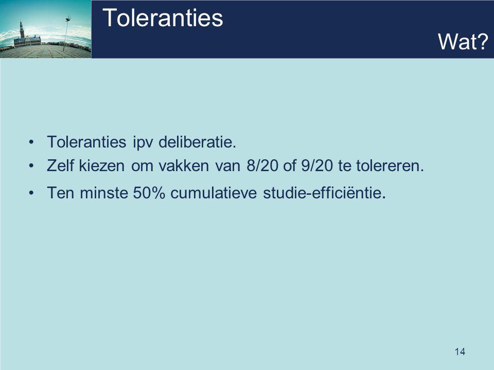 14 Toleranties Toleranties ipv deliberatie. Zelf kiezen om vakken van 8/20 of 9/20 te tolereren. Ten minste 50% cumulatieve studie-efficiëntie. Wat?