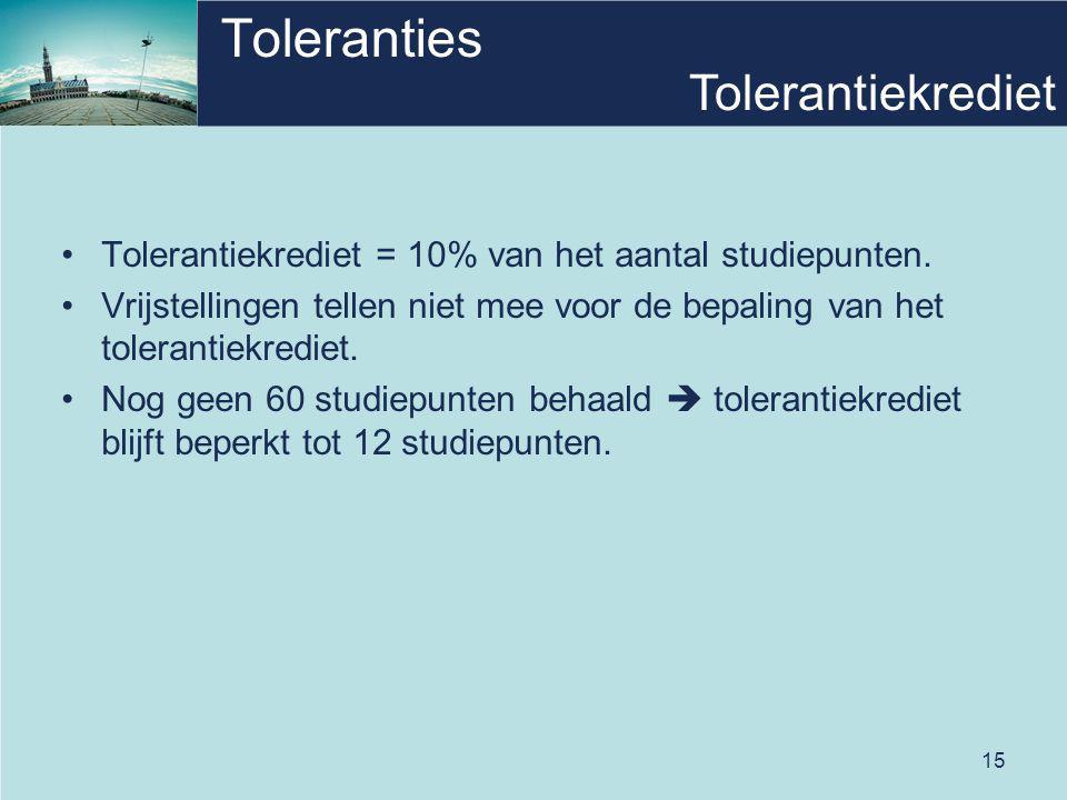 15 Toleranties Tolerantiekrediet = 10% van het aantal studiepunten. Vrijstellingen tellen niet mee voor de bepaling van het tolerantiekrediet. Nog gee