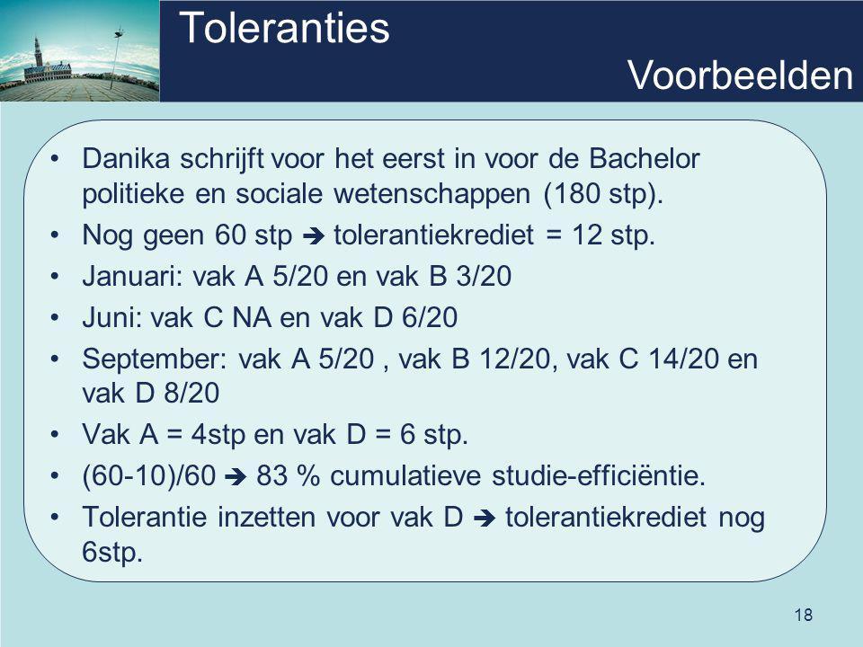 18 Toleranties Danika schrijft voor het eerst in voor de Bachelor politieke en sociale wetenschappen (180 stp). Nog geen 60 stp  tolerantiekrediet =