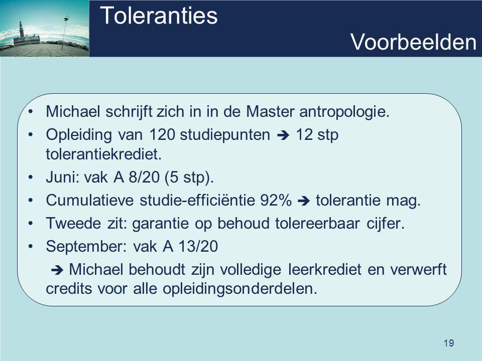19 Toleranties Michael schrijft zich in in de Master antropologie. Opleiding van 120 studiepunten  12 stp tolerantiekrediet. Juni: vak A 8/20 (5 stp)