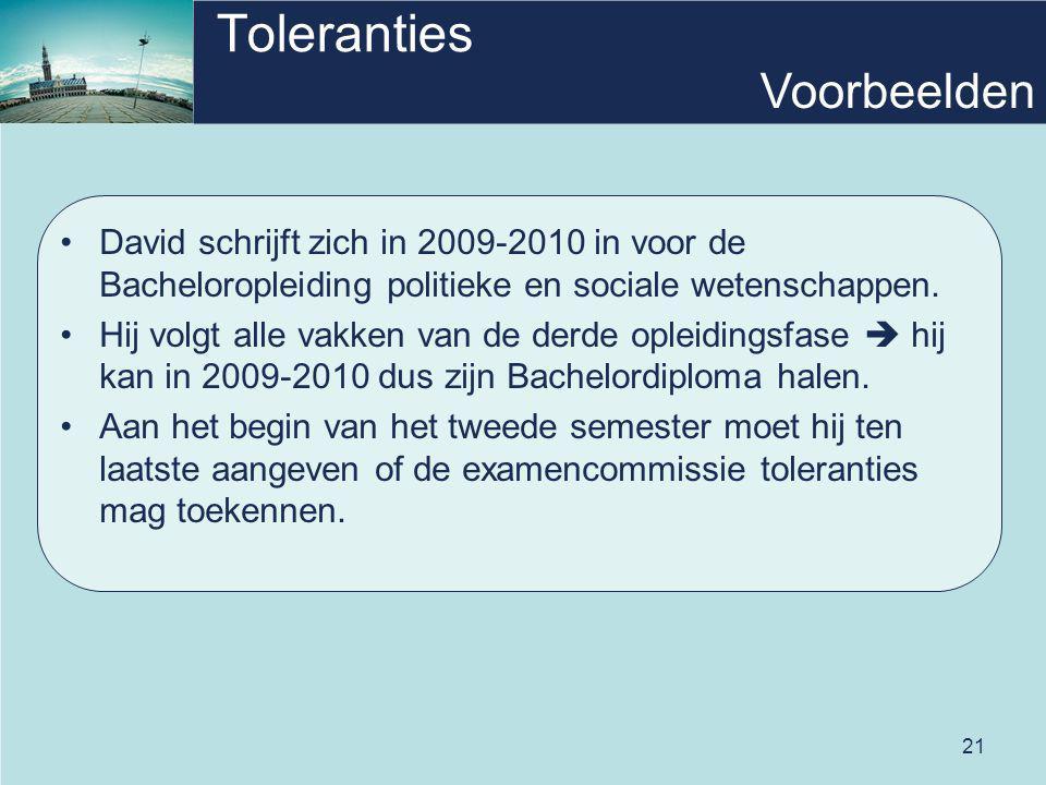 21 Toleranties David schrijft zich in 2009-2010 in voor de Bacheloropleiding politieke en sociale wetenschappen. Hij volgt alle vakken van de derde op