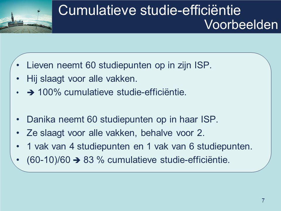 7 Cumulatieve studie-efficiëntie Lieven neemt 60 studiepunten op in zijn ISP. Hij slaagt voor alle vakken.  100% cumulatieve studie-efficiëntie. Dani