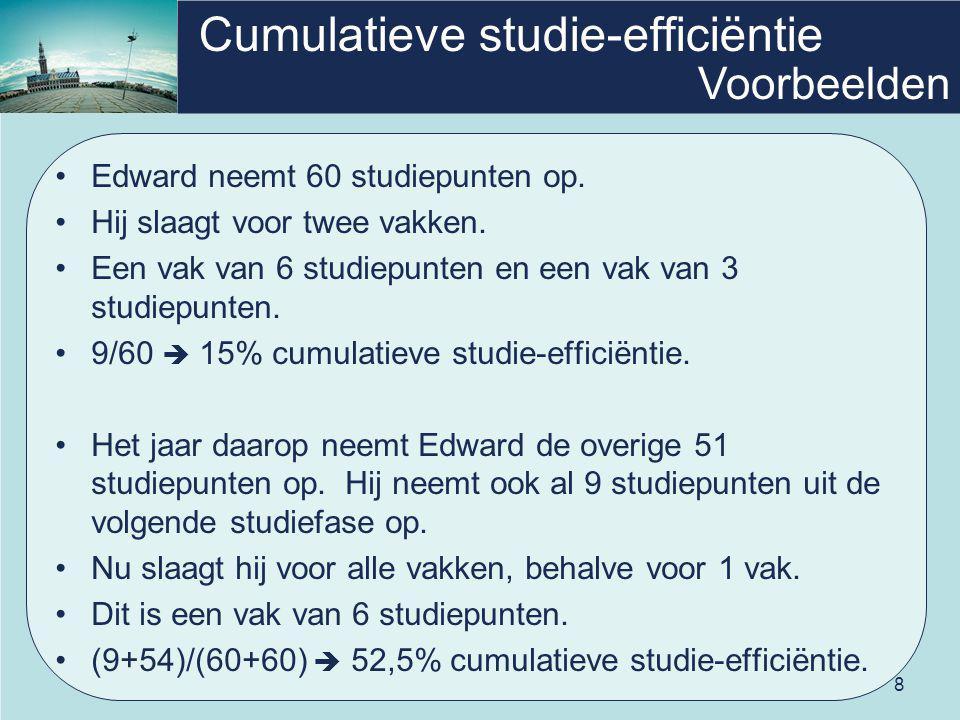 8 Cumulatieve studie-efficiëntie Edward neemt 60 studiepunten op. Hij slaagt voor twee vakken. Een vak van 6 studiepunten en een vak van 3 studiepunte