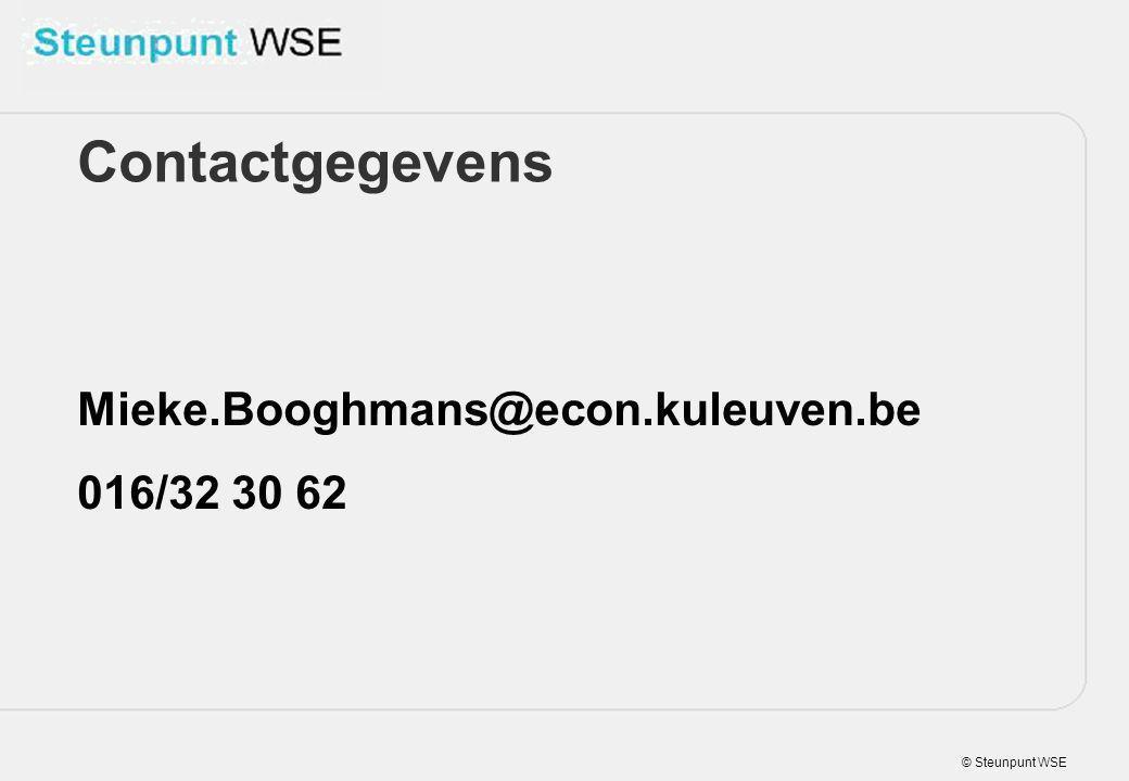© Steunpunt WSE Mieke.Booghmans@econ.kuleuven.be 016/32 30 62 Contactgegevens