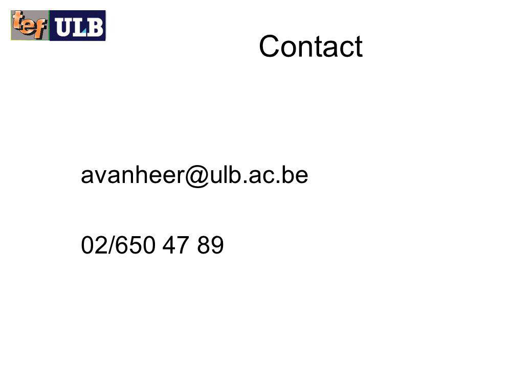 Contact avanheer@ulb.ac.be 02/650 47 89