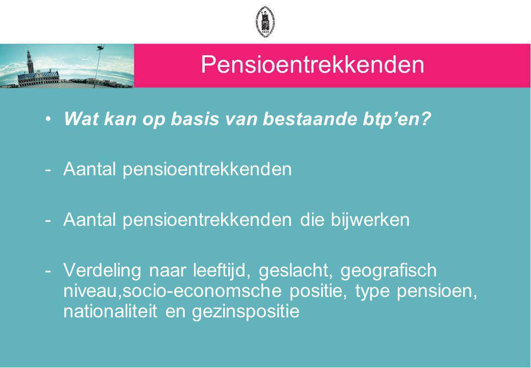 Pensioentrekkenden Pistes voor een nieuwe btp: -Pensioentrekkenden die bijwerken -Nieuw gepensioneerden (instroom): verdeling naar leeftijd, geslacht, type pensioen, socio-economische positie en arbeidssituatie voor pensionering