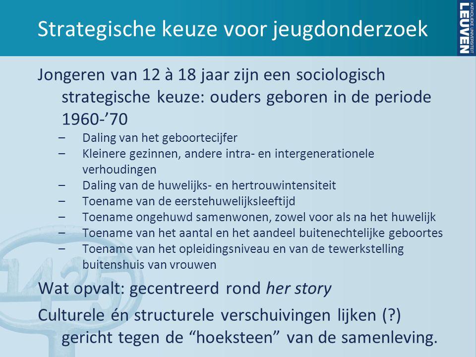 Strategische keuze voor jeugdonderzoek Jongeren van 12 à 18 jaar zijn een sociologisch strategische keuze: ouders geboren in de periode 1960-'70 –Daling van het geboortecijfer –Kleinere gezinnen, andere intra- en intergenerationele verhoudingen –Daling van de huwelijks- en hertrouwintensiteit –Toename van de eerstehuwelijksleeftijd –Toename ongehuwd samenwonen, zowel voor als na het huwelijk –Toename van het aantal en het aandeel buitenechtelijke geboortes –Toename van het opleidingsniveau en van de tewerkstelling buitenshuis van vrouwen Wat opvalt: gecentreerd rond her story Culturele én structurele verschuivingen lijken ( ) gericht tegen de hoeksteen van de samenleving.