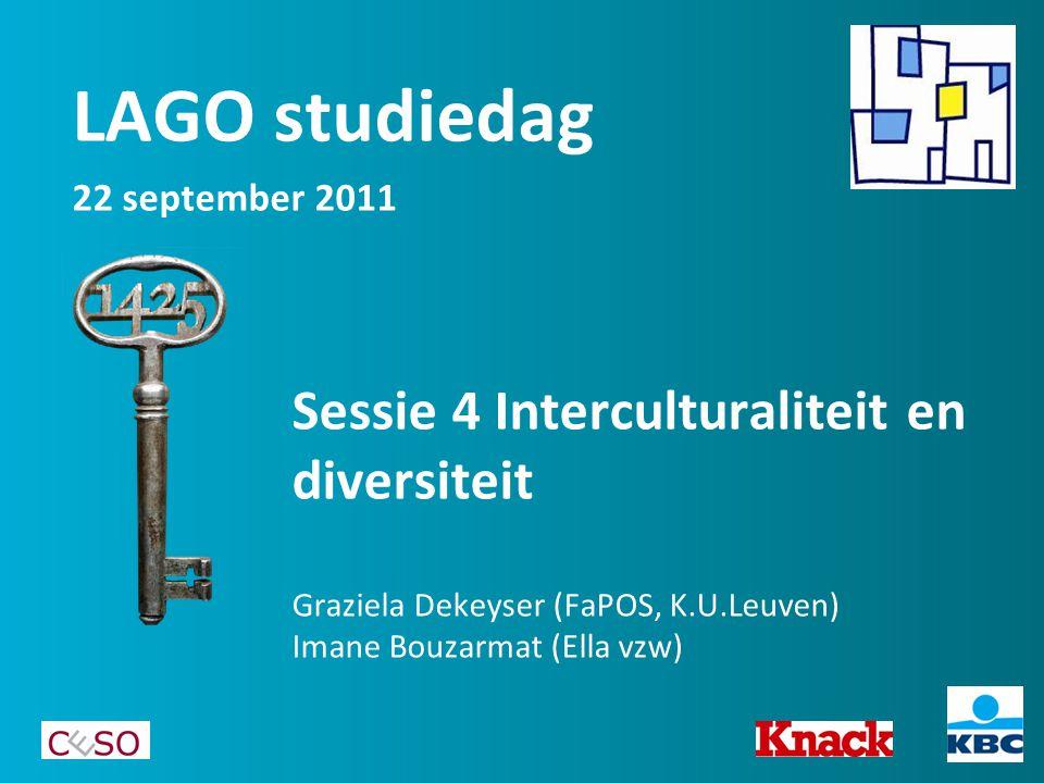 Sessie 4 Interculturaliteit en diversiteit Graziela Dekeyser (FaPOS, K.U.Leuven) Imane Bouzarmat (Ella vzw) LAGO studiedag 22 september 2011