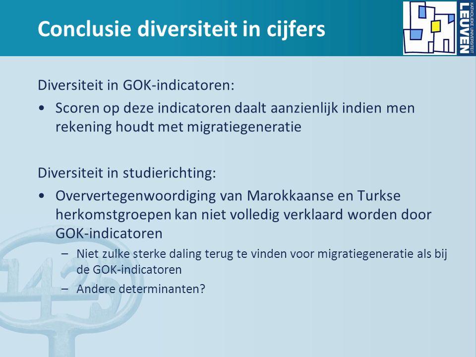 Conclusie diversiteit in cijfers Diversiteit in GOK-indicatoren: Scoren op deze indicatoren daalt aanzienlijk indien men rekening houdt met migratiege