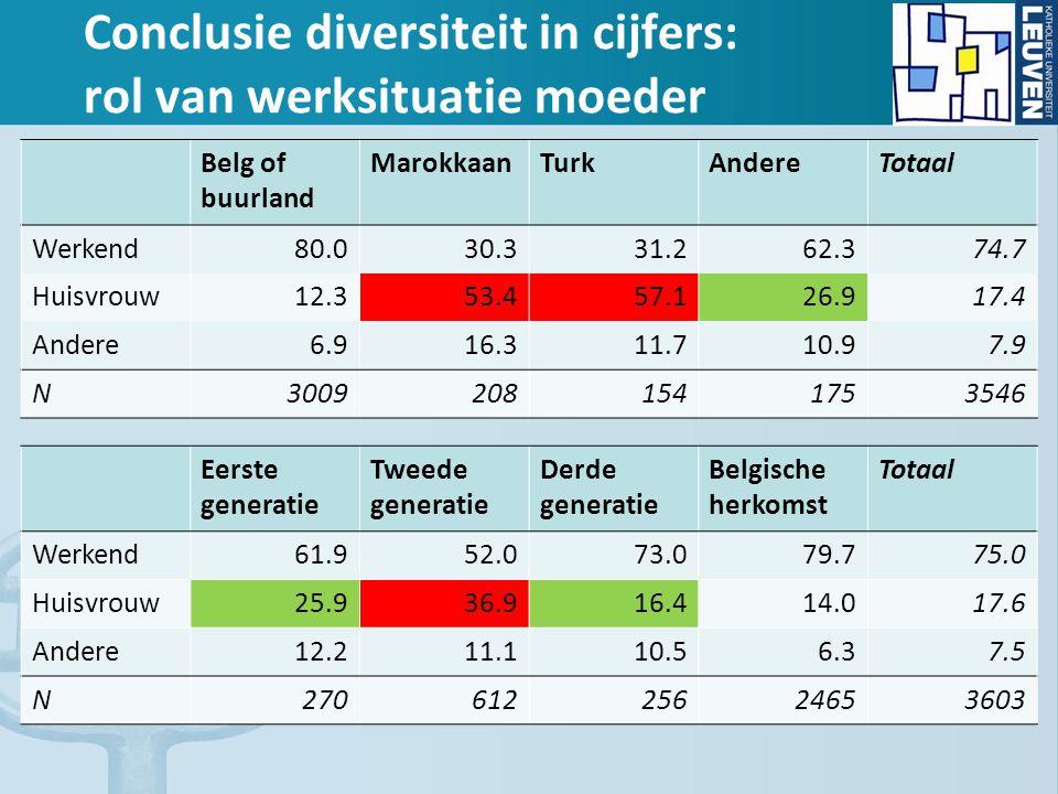 Conclusie diversiteit in cijfers: rol van werksituatie moeder Belg of buurland MarokkaanTurkAndereTotaal Werkend80.030.331.262.374.7 Huisvrouw12.353.4