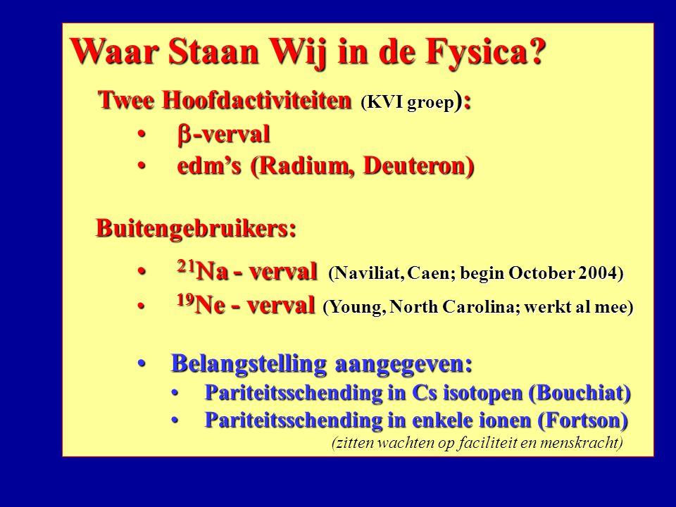 Waar Staan Wij in de Fysica? Twee Hoofdactiviteiten (KVI groep ): Twee Hoofdactiviteiten (KVI groep ):  -verval  -verval edm's (Radium, Deuteron) ed