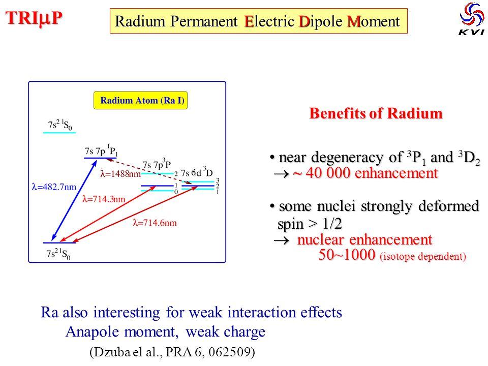 TRI  P Radium Permanent Electric Dipole Moment Benefits of Radium near degeneracy of 3 P 1 and 3 D 2 near degeneracy of 3 P 1 and 3 D 2  ~ 40 000 en
