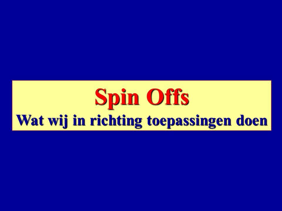 Spin Offs Wat wij in richting toepassingen doen