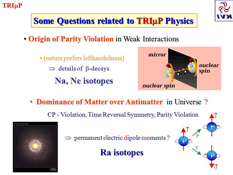 TRI  P Some Questions related to TRI  P Physics Origin of Parity Violation in Weak Interactions Origin of Parity Violation in Weak Interactions (nature prefers lefthandedness) (nature prefers lefthandedness)  details of  -decays  details of  -decays Na, Ne isotopes Na, Ne isotopes Dominance of Matter over Antimatter in Universe .