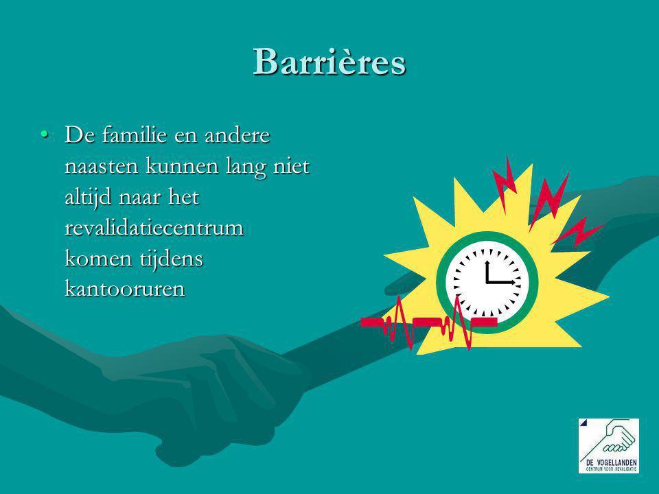 Barrières De familie en andere naasten kunnen lang niet altijd naar het revalidatiecentrum komen tijdens kantoorurenDe familie en andere naasten kunnen lang niet altijd naar het revalidatiecentrum komen tijdens kantooruren