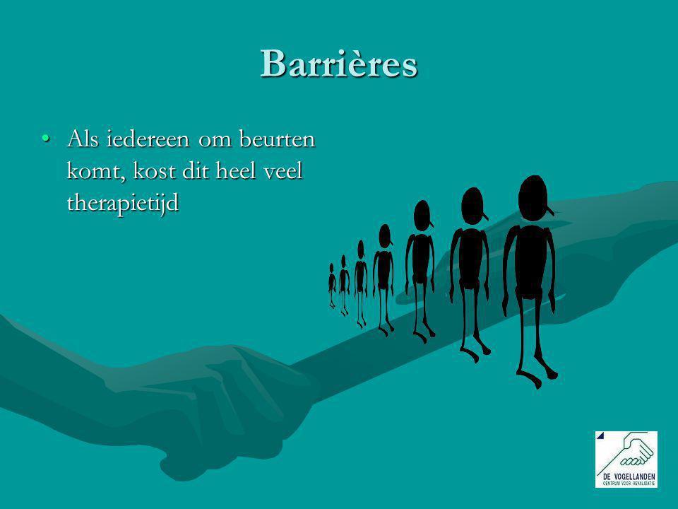 Barrières Als iedereen om beurten komt, kost dit heel veel therapietijdAls iedereen om beurten komt, kost dit heel veel therapietijd