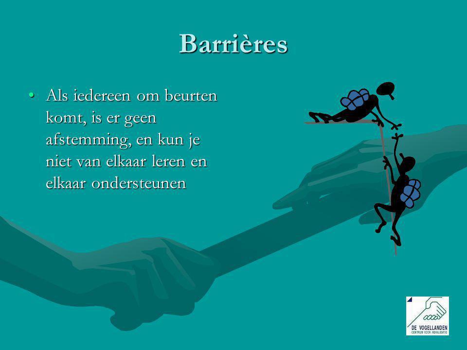 Barrières Als iedereen om beurten komt, is er geen afstemming, en kun je niet van elkaar leren en elkaar ondersteunenAls iedereen om beurten komt, is er geen afstemming, en kun je niet van elkaar leren en elkaar ondersteunen