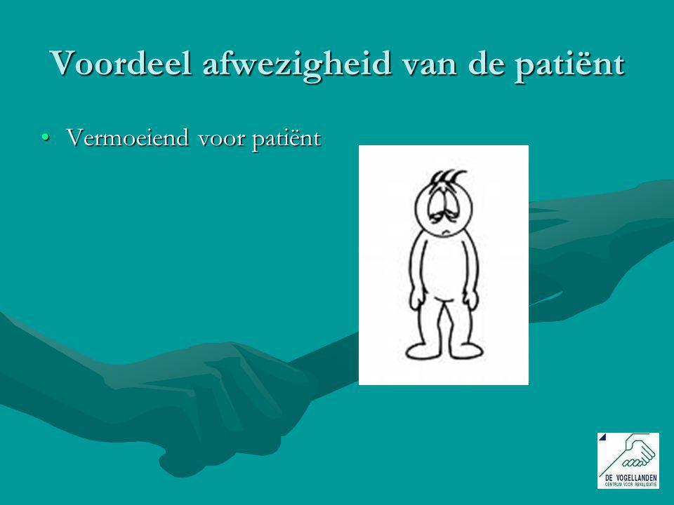 Voordeel afwezigheid van de patiënt Vermoeiend voor patiëntVermoeiend voor patiënt