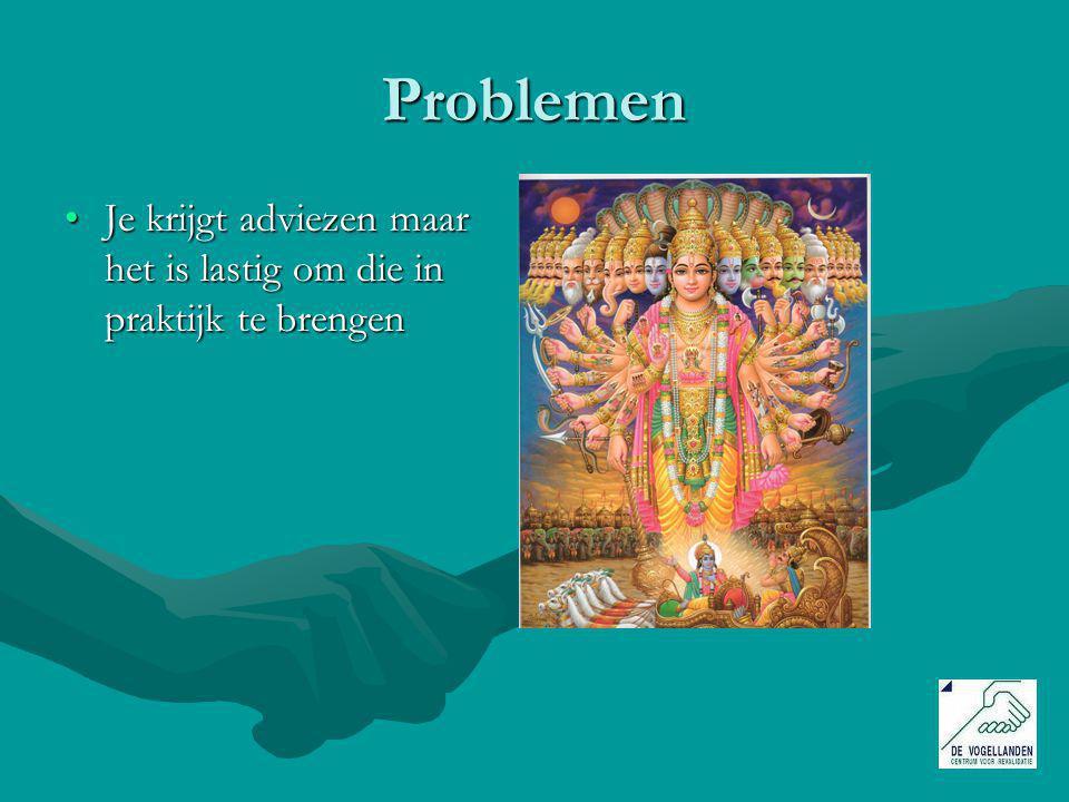 Problemen Je krijgt adviezen maar het is lastig om die in praktijk te brengenJe krijgt adviezen maar het is lastig om die in praktijk te brengen