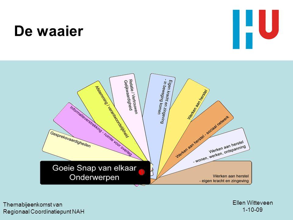 Ellen Witteveen 1-10-09 Themabijeenkomst van Regionaal Coordinatiepunt NAH De waaier