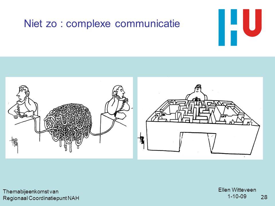 Ellen Witteveen 1-10-09 Themabijeenkomst van Regionaal Coordinatiepunt NAH 28 Niet zo : complexe communicatie