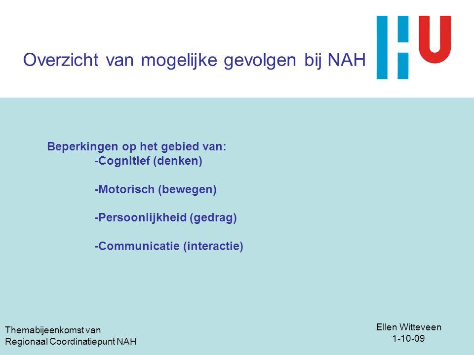 Ellen Witteveen 1-10-09 Themabijeenkomst van Regionaal Coordinatiepunt NAH Overzicht van mogelijke gevolgen bij NAH Beperkingen op het gebied van: -Co