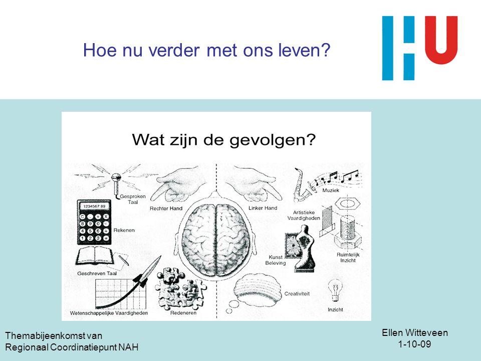 Ellen Witteveen 1-10-09 Themabijeenkomst van Regionaal Coordinatiepunt NAH Hoe nu verder met ons leven?