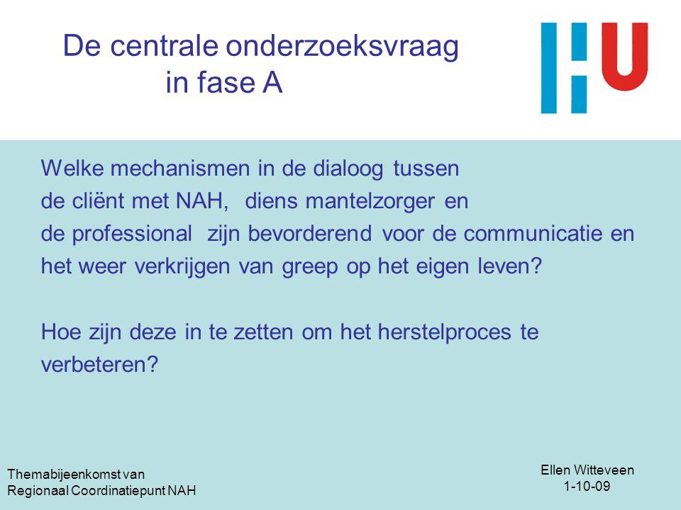 Ellen Witteveen 1-10-09 Themabijeenkomst van Regionaal Coordinatiepunt NAH De centrale onderzoeksvraag in fase A Welke mechanismen in de dialoog tusse