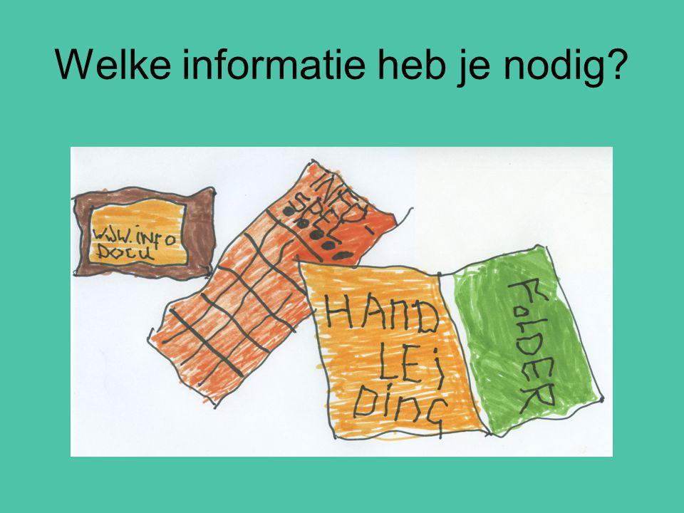 Welke informatie heb je nodig?
