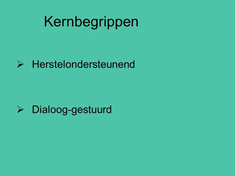  Herstelondersteunend  Dialoog-gestuurd Kernbegrippen