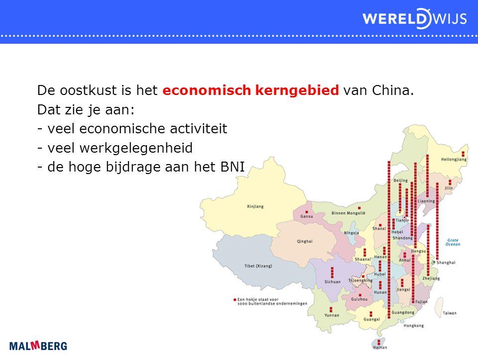 De oostkust is het economisch kerngebied van China. Dat zie je aan: - veel economische activiteit - veel werkgelegenheid - de hoge bijdrage aan het BN