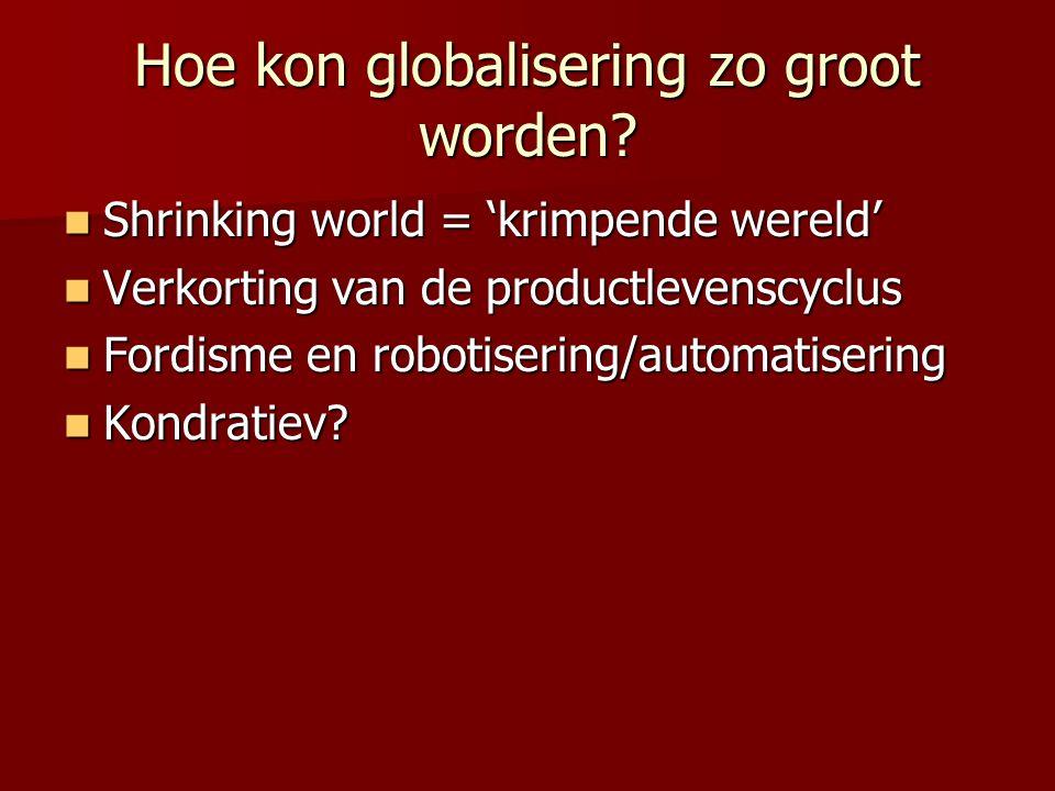 Hoe kon globalisering zo groot worden? Shrinking world = 'krimpende wereld' Shrinking world = 'krimpende wereld' Verkorting van de productlevenscyclus