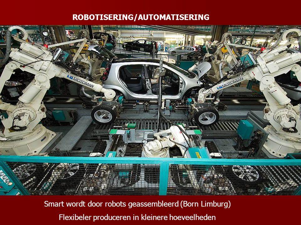 ROBOTISERING/AUTOMATISERING Smart wordt door robots geassembleerd (Born Limburg) Flexibeler produceren in kleinere hoeveelheden