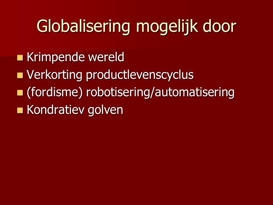 Globalisering mogelijk door Krimpende wereld Krimpende wereld Verkorting productlevenscyclus Verkorting productlevenscyclus (fordisme) robotisering/automatisering (fordisme) robotisering/automatisering Kondratiev golven Kondratiev golven
