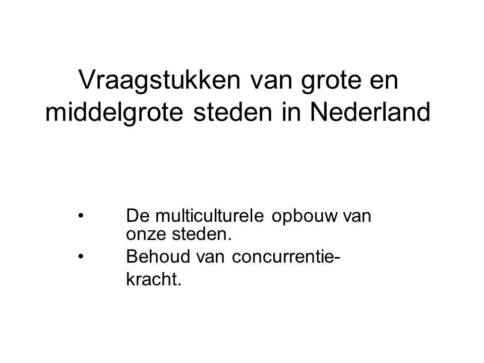 Vraagstukken van grote en middelgrote steden in Nederland De multiculturele opbouw van onze steden. Behoud van concurrentie- kracht.