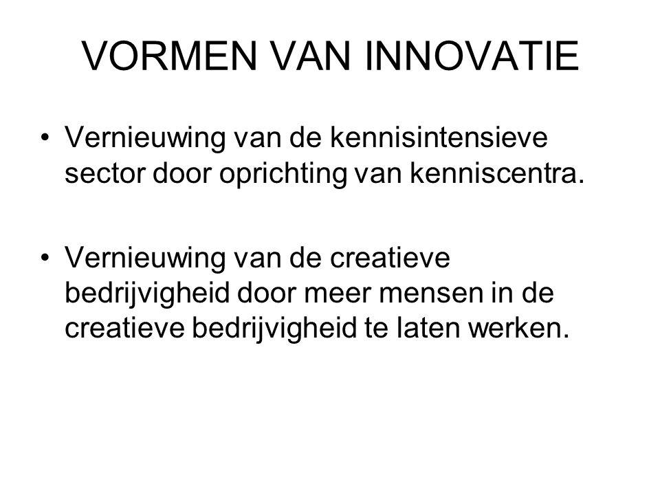 VORMEN VAN INNOVATIE Vernieuwing van de kennisintensieve sector door oprichting van kenniscentra. Vernieuwing van de creatieve bedrijvigheid door meer