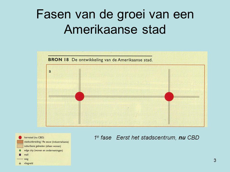 3 Fasen van de groei van een Amerikaanse stad 1 e fase Eerst het stadscentrum, nu CBD