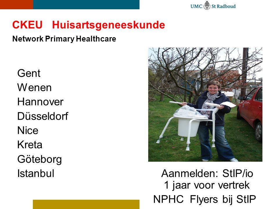 CKEU Huisartsgeneeskunde Network Primary Healthcare Gent Wenen Hannover Düsseldorf Nice Kreta Göteborg Istanbul Aanmelden: StIP/io 1 jaar voor vertrek