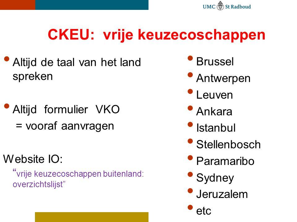 """CKEU: vrije keuzecoschappen Altijd de taal van het land spreken Altijd formulier VKO = vooraf aanvragen Website IO: """" vrije keuzecoschappen buitenland"""